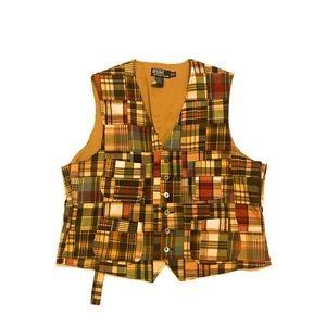 Polo Ralph Lauren Patchwork Plaid Button Vest